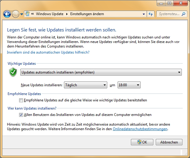 Windows Update unter WIN7 aktivieren